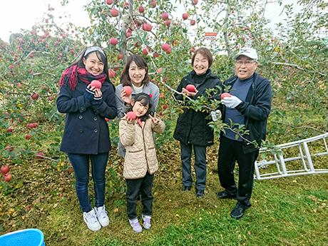 家族でリンゴ狩り2